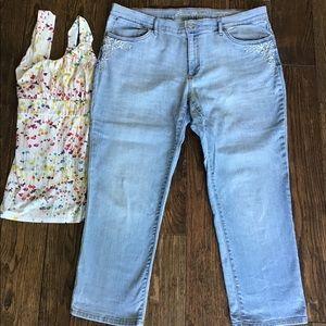 Eddie Bauer Boyfriend Embroidered Ankle Jeans